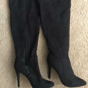 LolaShoetique Shoes - Over the Knee Boots-Black Suede